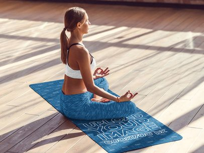 Yoga Mat Mockup Featuring a Female Yogi Meditating 37110-r-el2
