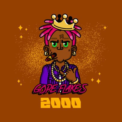 Music Avatar Logo Maker Featuring a Rapper Wearing a Crown 3331d