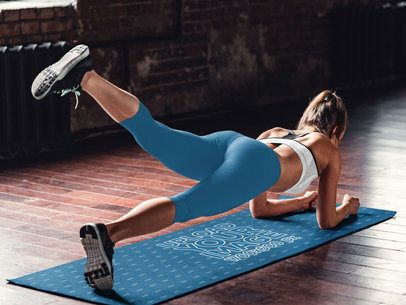 Yoga Mat Mockup Featuring a Woman Doing Plank 37227-r-el2