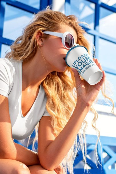 Mockup of a Long-Haired Woman Drinking From a Customizable Coffee Cup 36877-r-el2