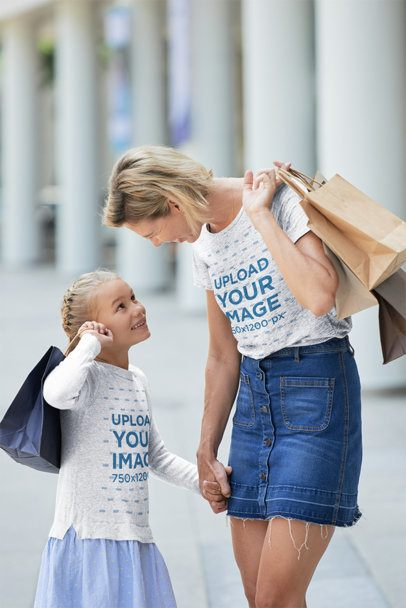 Heather T-Shirt and Sweatshirt Mockup of a Woman Talking with Her Daughter 37497-r-el2