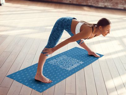 Yoga Mat Mockup of a Woman Doing a Forward Bend 37108-r-el2