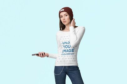 Long Sleeve Tee Mockup of a Woman Listening to Music From Her Phone 4737-el1