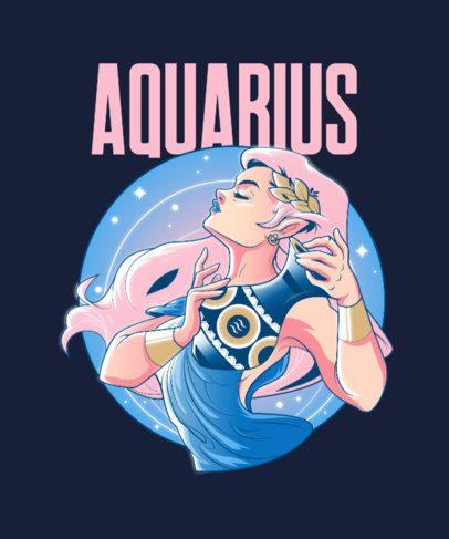 Zodiac T-Shirt Design Generator with an Aquarius Sorceress Illustration 2655c
