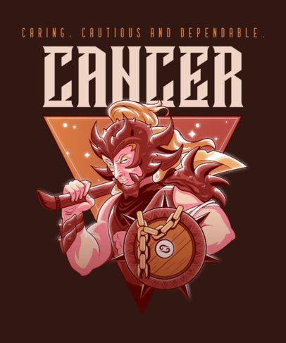 Zodiac T-Shirt Design Template with a Cancer Warrior 2655a