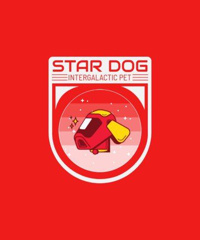 T-Shirt Design Maker Featuring a Badge of an Intergalactic Dog 1939f