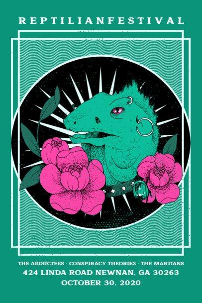 Music Festival Poster Design Maker with an Illustration of an Iguana 1937b
