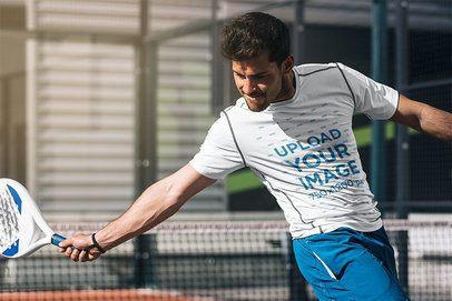 T-Shirt Mockup of a Man Playing Tennis 37976-r-el2