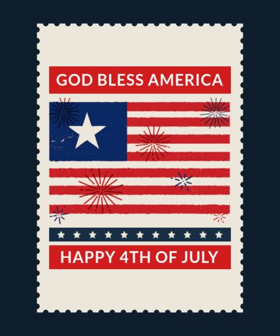 T-Shirt Design Template with an American Flag for 4th of July 1813j 2664