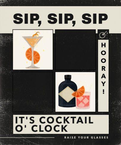 Retro T-Shirt Design Creator Featuring Cocktail Illustrations 2633a