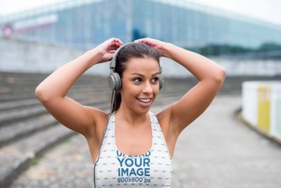 Sports Bra Mockup of a Woman with Headphones 38453-r-el2