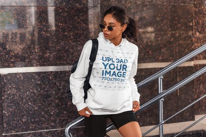 Pullover Hoodie Mockup Featuring a Young Woman With an Athleisure Style 4855-el1