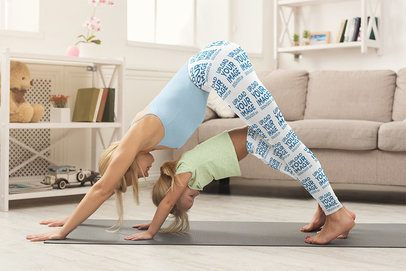 Leggings Mockup of a Woman and Her Daughter Doing Yoga Together 36985-r-el2