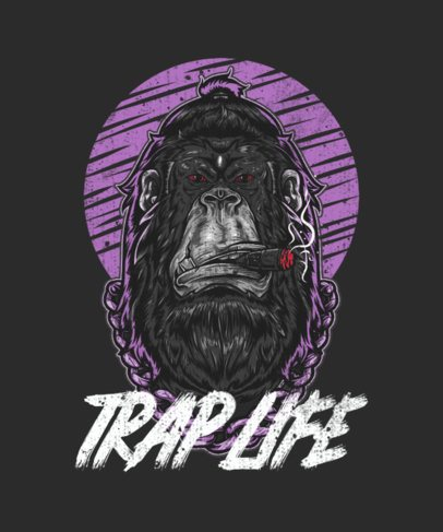 T-Shirt Design Creator Featuring a Though Gorilla with a Golden Chain 1961a-el1