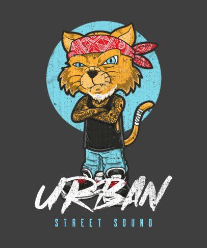 Illustrated T-Shirt Design Creator Featuring a Cat with a Bandana 1961c-el1