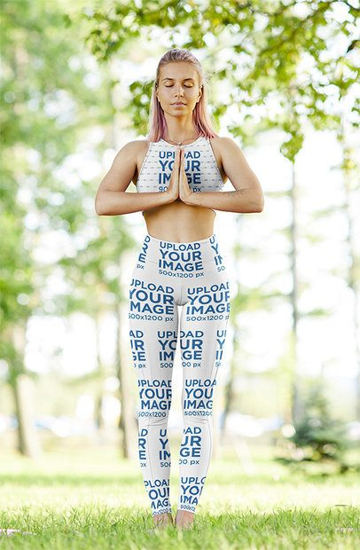 Sports Bra and Leggings Mockup Featuring a Woman Doing Yoga in Nature 38656-r-el2