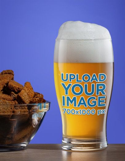 Mockup of a Beer Glass Placed Next to a Bowl of Beef Jerky 35660-r-el2