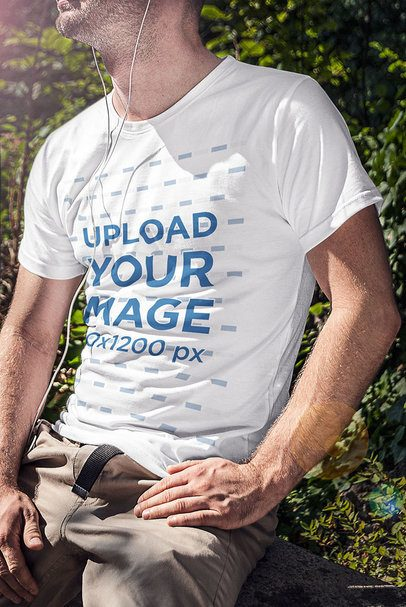 T-Shirt Mockup Featuring a Man and Nature in the Background 4799-el1