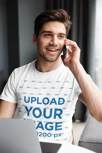 T-Shirt Mockup of a Man on the Phone at Home 37918-r-el2