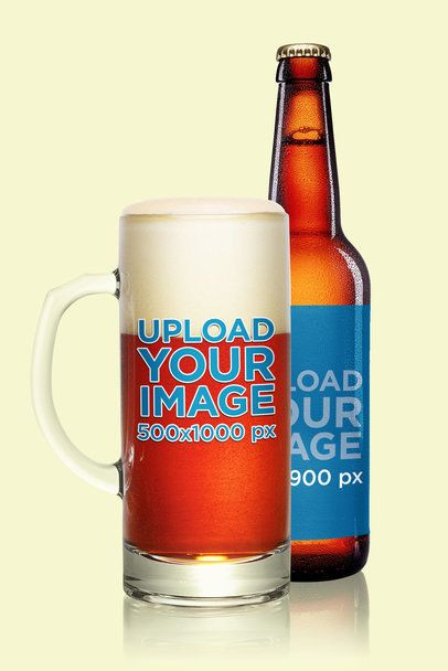 Mockup of a Beer Glass and Bottle Against a Plain Background 35696-r-el2