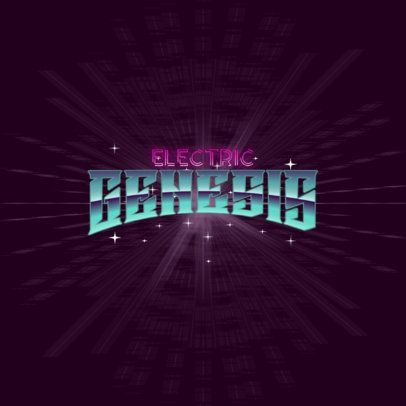 80s-Styled Logo Template Featuring a Metal Chrome Text Effect 3395b