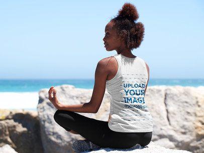 Back-View Tank Top Mockup of a Woman Meditating at the Beach 38799-r-el2