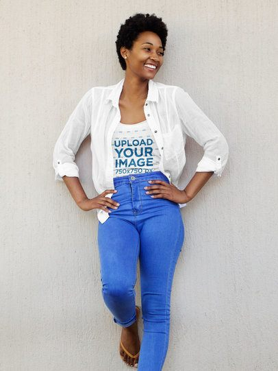 Tank Top Mockup of a Happy Woman Wearing a Fresh Outfit 38789-r-el2