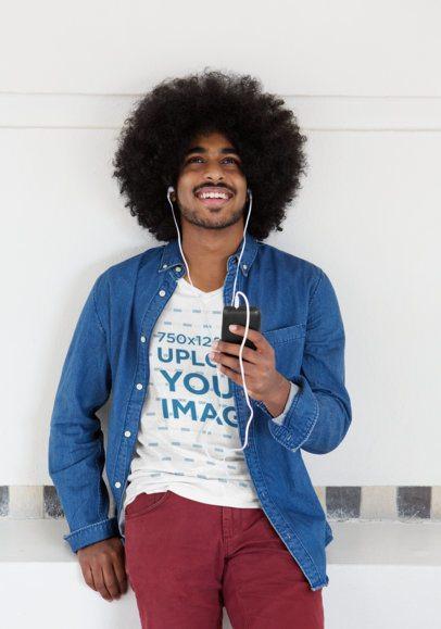 V-Neck T-Shirt Mockup of a Man Listening to Music 38107-r-el2