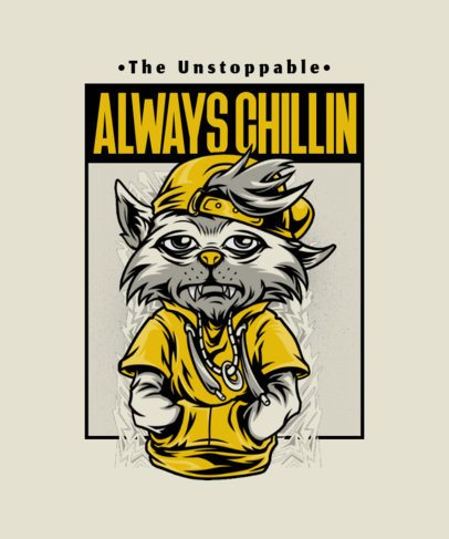 Illustrated T-Shirt Design Creator Featuring a Chill Animal in Streetwear 2082d-el1
