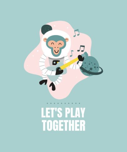 T-Shirt Design Maker Featuring an Astronaut Monkey Playing Guitar 2179a-el1