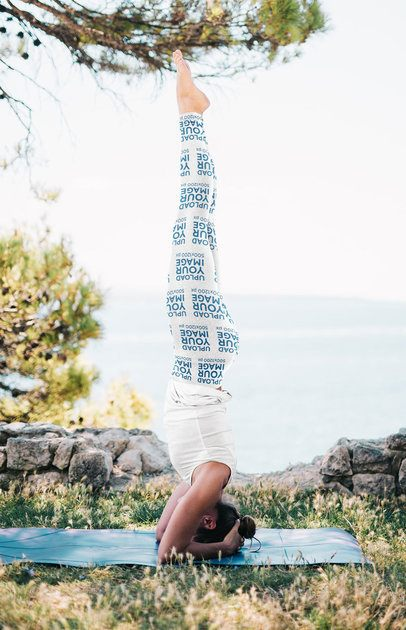 Leggings Mockup of a Female Yogi Doing a Headstand in Nature 38337-r-el2