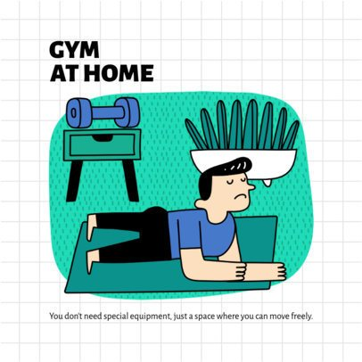 Illustrated Instagram Post Creator with Advice to Work Out at Home 1975e-el1