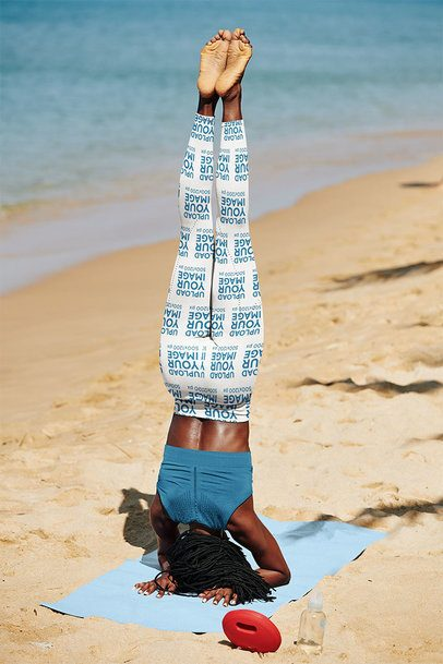 Sublimated Leggings Mockup of a Woman Doing a Headstand by the Beach 38720-r-el2