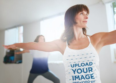 Heathered Tank Top Mockup Featuring a Woman Practicing Yoga 38351-r-el2