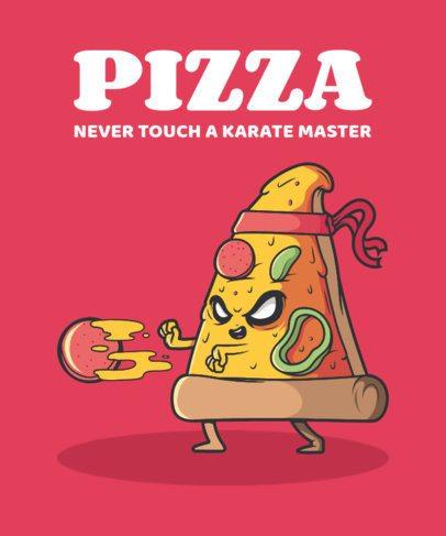 T-Shirt Design Maker Featuring a Karate Pizza 2190a-el1