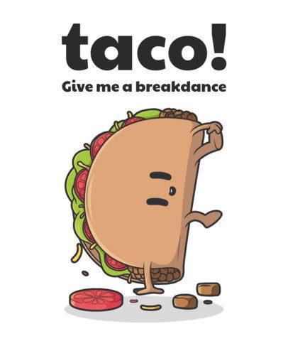 T-Shirt Design Maker with an Illustration of a Dancing Taco 2190d-el1