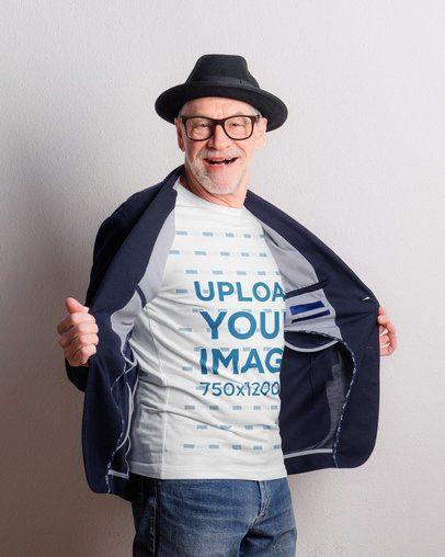 T-Shirt Mockup Featuring a Joyful Senior Man 39136-r-el2