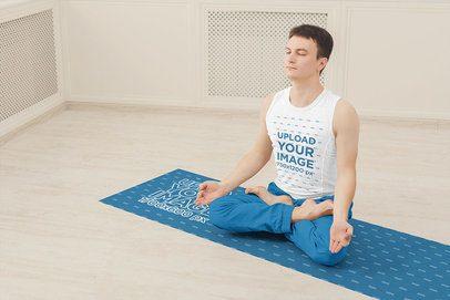 Tank Top Mockup of a Man Meditating on a Yoga Mat 38731-r-el2