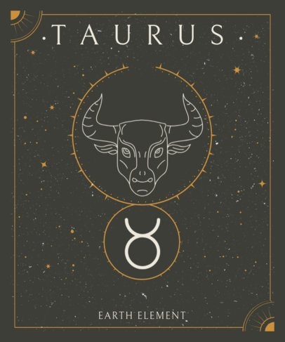 T-Shirt Design Template with a Taurus Graphic and a Background of Stars 2722h