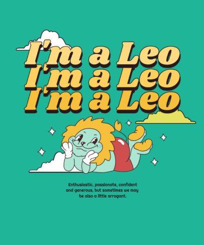 Zodiac T-Shirt Design Creator Featuring a Smiling Lion Illustration 2723d