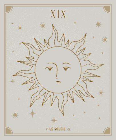 Zodiac T-Shirt Design Generator Featuring a Sun Outline Illustration 2722d