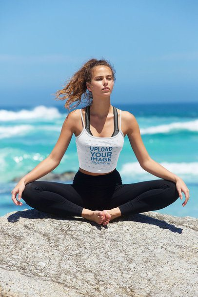 Tank Top Mockup of a Young Woman Doing Yoga at the Beach 38472-r-el2
