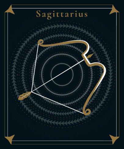 Sagittarius T-Shirt Design Maker Featuring a Bow and Arrow 2722m