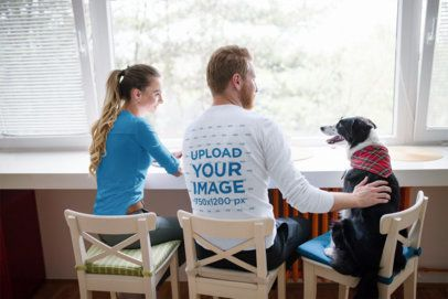 Long-Sleeve Tee Mockup of a Man Hanging Out with His Girlfriend and Dog 39117-r-el2