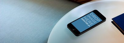iPhone 5s Space Grey On Frosted Glass Table Wide