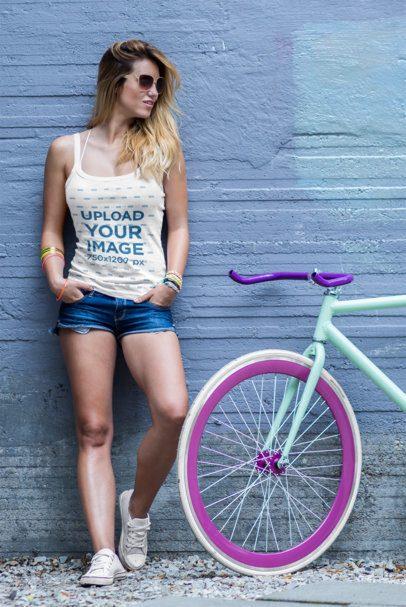 Tank Top Mockup of a Woman Posing Next to a Bike 38699-r-el2