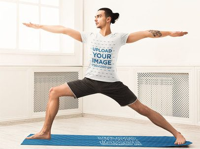 T-Shirt Mockup of a Man Practicing on a Yoga Mat 34861-r-el2