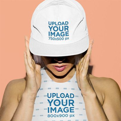 Mockup of a Woman Wearing a Crop Top and a Snapback Hat 37335-r-el2