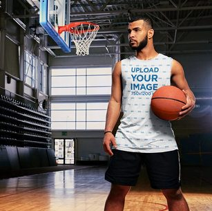Mockup of a Basketball Player Wearing a Sublimated Tank Top 38808-r-el2