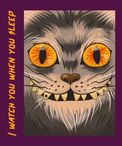 T-Shirt Design Creator with a Creepy Smiling Cat Face 2768b